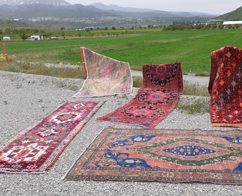 Vintage rugs ready to be photographed